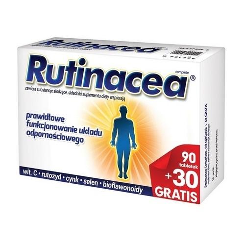 Rutinacea Complete tabl. 90 + 30 tabl. | Apteka internetowa, antyperspirant, avent, bioderma, bioliq, canpol, cera trądzikowa preparaty, dermokosmetyki, geriavit, grzybica leki bez recepty, himalaya, kreon, leki bez recepty, leki na grypę, leki na przeziębienie, leki na uspokojenie, mascara med., maxigra go, maxon, mensil, mugga, mustela, odchudzanie leki, odporność, pirolam, tabletki na ból gardła, test ciążowy, tran mollers, vichy, witamina d, wszy preparaty, zapalenie stawów, zestawy kosmetyków, ziaja