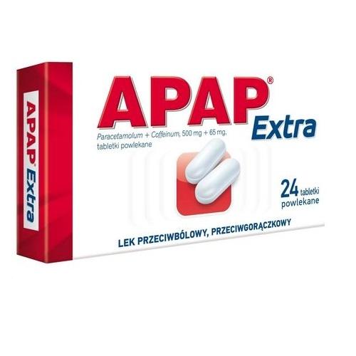 Apap Extra tabl.powl. (0,5g+0,065g) 24tabl | Apteka internetowa, antyperspirant, avent, bioderma, bioliq, canpol, cera trądzikowa preparaty, dermokosmetyki, geriavit, grzybica leki bez recepty, himalaya, kreon, leki bez recepty, leki na grypę, leki na przeziębienie, leki na uspokojenie, mascara med., maxigra go, maxon, mensil, mugga, mustela, odchudzanie leki, odporność, pirolam, tabletki na ból gardła, test ciążowy, tran mollers, vichy, witamina d, wszy preparaty, zapalenie stawów, zestawy kosmetyków, ziaja