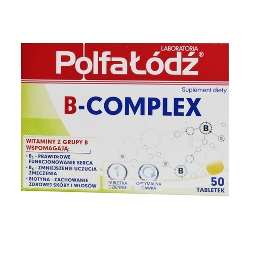 Laborat. PolfaŁódź B-complex 50 tabl. | Apteka internetowa, antyperspirant, avent, bioderma, bioliq, canpol, cera trądzikowa preparaty, dermokosmetyki, geriavit, grzybica leki bez recepty, himalaya, kreon, leki bez recepty, leki na grypę, leki na przeziębienie, leki na uspokojenie, mascara med., maxigra go, maxon, mensil, mugga, mustela, odchudzanie leki, odporność, pirolam, tabletki na ból gardła, test ciążowy, tran mollers, vichy, witamina d, wszy preparaty, zapalenie stawów, zestawy kosmetyków, ziaja