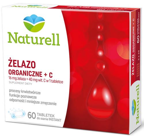 NATURELL Żelazo organiczne+C 60 tabl.d/ss.