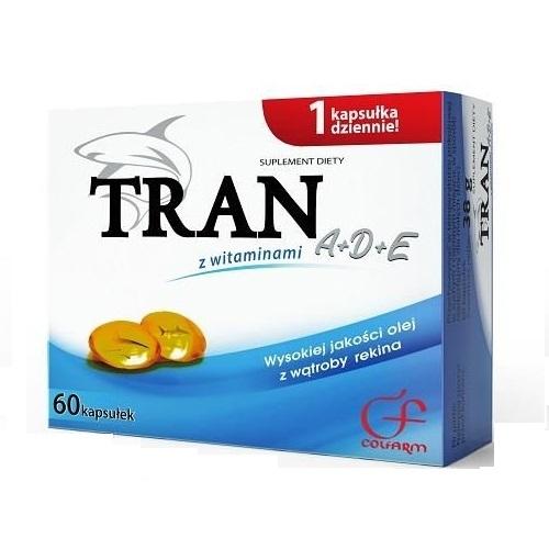 Tran z witaminami A+D+E 60 kaps.COLFARM