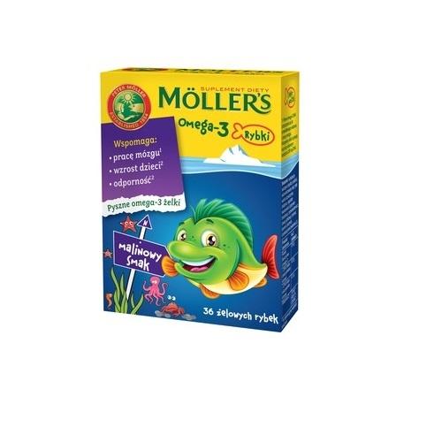MOLLERS Omega-3 Rybki malinowe żelki 36szt