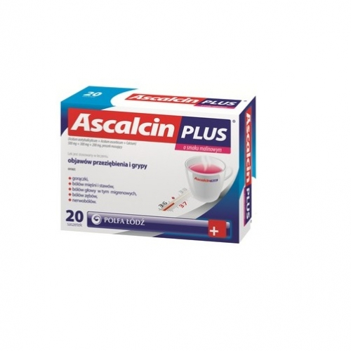 Ascalcin Plus o smaku cytryn. 20 sasz.