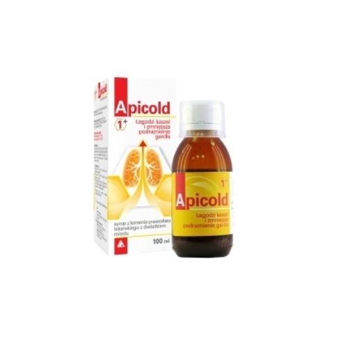 Apicold 1+ Syrop z prawoślazu z miod.100ml | Apteka internetowa, antyperspirant, avent, bioderma, bioliq, canpol, cera trądzikowa preparaty, dermokosmetyki, geriavit, grzybica leki bez recepty, himalaya, kreon, leki bez recepty, leki na grypę, leki na przeziębienie, leki na uspokojenie, mascara med., maxigra go, maxon, mensil, mugga, mustela, odchudzanie leki, odporność, pirolam, tabletki na ból gardła, test ciążowy, tran mollers, vichy, witamina d, wszy preparaty, zapalenie stawów, zestawy kosmetyków, ziaja