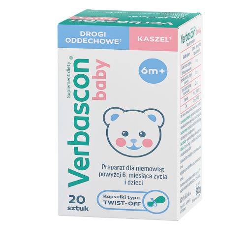 Verbascon Baby kaps.twistoff 20 kaps. | Apteka internetowa, antyperspirant, avent, bioderma, bioliq, canpol, cera trądzikowa preparaty, dermokosmetyki, geriavit, grzybica leki bez recepty, himalaya, kreon, leki bez recepty, leki na grypę, leki na przeziębienie, leki na uspokojenie, mascara med., maxigra go, maxon, mensil, mugga, mustela, odchudzanie leki, odporność, pirolam, tabletki na ból gardła, test ciążowy, tran mollers, vichy, witamina d, wszy preparaty, zapalenie stawów, zestawy kosmetyków, ziaja