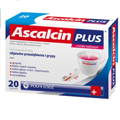 Ascalcin Plus o smaku malin.20 sasz.