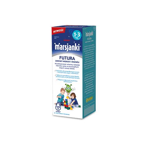 Marsjanki FUTURA 1-3 syrop 125 ml | Apteka internetowa, antyperspirant, avent, bioderma, bioliq, canpol, cera trądzikowa preparaty, dermokosmetyki, geriavit, grzybica leki bez recepty, himalaya, kreon, leki bez recepty, leki na grypę, leki na przeziębienie, leki na uspokojenie, mascara med., maxigra go, maxon, mensil, mugga, mustela, odchudzanie leki, odporność, pirolam, tabletki na ból gardła, test ciążowy, tran mollers, vichy, witamina d, wszy preparaty, zapalenie stawów, zestawy kosmetyków, ziaja