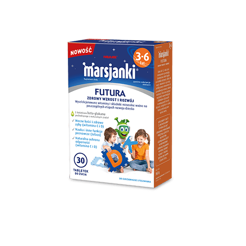 Marsjanki FUTURA 3-6 tabl.dożucia 30tabl. | Apteka internetowa, antyperspirant, avent, bioderma, bioliq, canpol, cera trądzikowa preparaty, dermokosmetyki, geriavit, grzybica leki bez recepty, himalaya, kreon, leki bez recepty, leki na grypę, leki na przeziębienie, leki na uspokojenie, mascara med., maxigra go, maxon, mensil, mugga, mustela, odchudzanie leki, odporność, pirolam, tabletki na ból gardła, test ciążowy, tran mollers, vichy, witamina d, wszy preparaty, zapalenie stawów, zestawy kosmetyków, ziaja