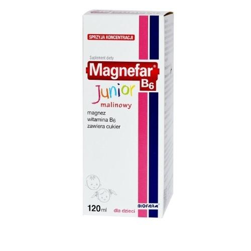 Magnefar B6 Junior płyn 120 ml | Apteka internetowa, antyperspirant, avent, bioderma, bioliq, canpol, cera trądzikowa preparaty, dermokosmetyki, geriavit, grzybica leki bez recepty, himalaya, kreon, leki bez recepty, leki na grypę, leki na przeziębienie, leki na uspokojenie, mascara med., maxigra go, maxon, mensil, mugga, mustela, odchudzanie leki, odporność, pirolam, tabletki na ból gardła, test ciążowy, tran mollers, vichy, witamina d, wszy preparaty, zapalenie stawów, zestawy kosmetyków, ziaja