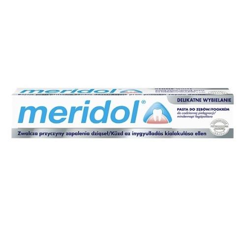 Pasta d/zęb.MERIDOL delikatne wybiel.75ml | Apteka internetowa, antyperspirant, avent, bioderma, bioliq, canpol, cera trądzikowa preparaty, dermokosmetyki, geriavit, grzybica leki bez recepty, himalaya, kreon, leki bez recepty, leki na grypę, leki na przeziębienie, leki na uspokojenie, mascara med., maxigra go, maxon, mensil, mugga, mustela, odchudzanie leki, odporność, pirolam, tabletki na ból gardła, test ciążowy, tran mollers, vichy, witamina d, wszy preparaty, zapalenie stawów, zestawy kosmetyków, ziaja