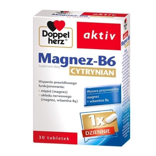 Doppelherz aktiv Magnez-B6 Cytrynian 30tab | Apteka internetowa, antyperspirant, avent, bioderma, bioliq, canpol, cera trądzikowa preparaty, dermokosmetyki, geriavit, grzybica leki bez recepty, himalaya, kreon, leki bez recepty, leki na grypę, leki na przeziębienie, leki na uspokojenie, mascara med., maxigra go, maxon, mensil, mugga, mustela, odchudzanie leki, odporność, pirolam, tabletki na ból gardła, test ciążowy, tran mollers, vichy, witamina d, wszy preparaty, zapalenie stawów, zestawy kosmetyków, ziaja