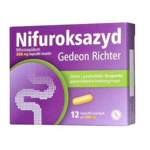 Nifuroksazyd Richter 0,2g 12 kaps. | Apteka internetowa, antyperspirant, avent, bioderma, bioliq, canpol, cera trądzikowa preparaty, dermokosmetyki, geriavit, grzybica leki bez recepty, himalaya, kreon, leki bez recepty, leki na grypę, leki na przeziębienie, leki na uspokojenie, mascara med., maxigra go, maxon, mensil, mugga, mustela, odchudzanie leki, odporność, pirolam, tabletki na ból gardła, test ciążowy, tran mollers, vichy, witamina d, wszy preparaty, zapalenie stawów, zestawy kosmetyków, ziaja