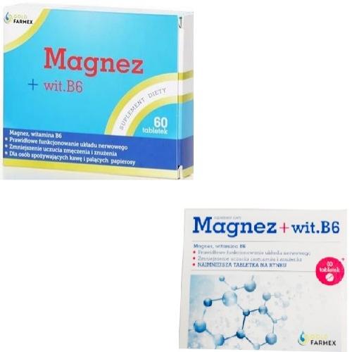 Magnez+wit.B6 tabl. 0,1 g 60 tabl.Goldfarm | Apteka internetowa, antyperspirant, avent, bioderma, bioliq, canpol, cera trądzikowa preparaty, dermokosmetyki, geriavit, grzybica leki bez recepty, himalaya, kreon, leki bez recepty, leki na grypę, leki na przeziębienie, leki na uspokojenie, mascara med., maxigra go, maxon, mensil, mugga, mustela, odchudzanie leki, odporność, pirolam, tabletki na ból gardła, test ciążowy, tran mollers, vichy, witamina d, wszy preparaty, zapalenie stawów, zestawy kosmetyków, ziaja