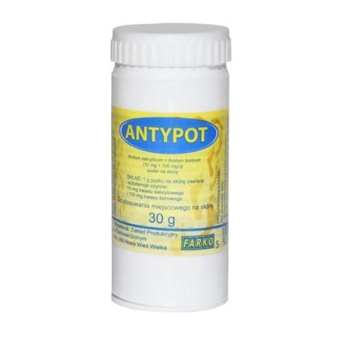 Antypot  zasyp. 30 g   Apteka internetowa, antyperspirant, avent, bioderma, bioliq, canpol, cera trądzikowa preparaty, dermokosmetyki, geriavit, grzybica leki bez recepty, himalaya, kreon, leki bez recepty, leki na grypę, leki na przeziębienie, leki na uspokojenie, mascara med., maxigra go, maxon, mensil, mugga, mustela, odchudzanie leki, odporność, pirolam, tabletki na ból gardła, test ciążowy, tran mollers, vichy, witamina d, wszy preparaty, zapalenie stawów, zestawy kosmetyków, ziaja