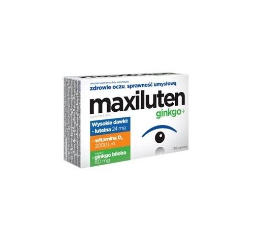 MAXILUTEN GINKGO+ tabl. 30 tabl. | Apteka internetowa, antyperspirant, avent, bioderma, bioliq, canpol, cera trądzikowa preparaty, dermokosmetyki, geriavit, grzybica leki bez recepty, himalaya, kreon, leki bez recepty, leki na grypę, leki na przeziębienie, leki na uspokojenie, mascara med., maxigra go, maxon, mensil, mugga, mustela, odchudzanie leki, odporność, pirolam, tabletki na ból gardła, test ciążowy, tran mollers, vichy, witamina d, wszy preparaty, zapalenie stawów, zestawy kosmetyków, ziaja