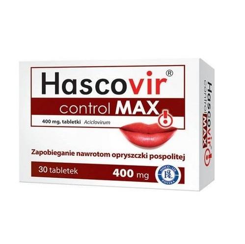 Hascovir control Max tabl. 0,4 g 30 tabl. | Apteka internetowa, antyperspirant, avent, bioderma, bioliq, canpol, cera trądzikowa preparaty, dermokosmetyki, geriavit, grzybica leki bez recepty, himalaya, kreon, leki bez recepty, leki na grypę, leki na przeziębienie, leki na uspokojenie, mascara med., maxigra go, maxon, mensil, mugga, mustela, odchudzanie leki, odporność, pirolam, tabletki na ból gardła, test ciążowy, tran mollers, vichy, witamina d, wszy preparaty, zapalenie stawów, zestawy kosmetyków, ziaja