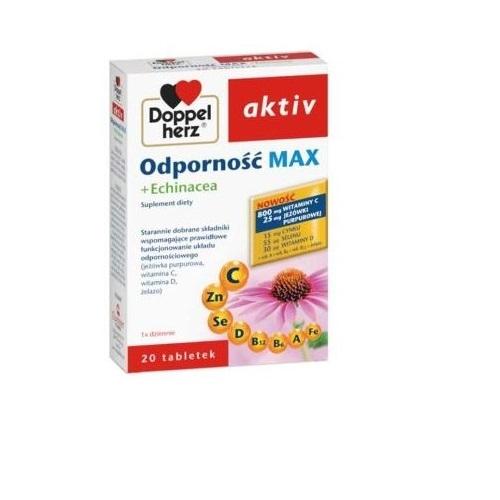 Doppelherz aktiv Odporn.MAX+Echinac.20 tab | Apteka internetowa, antyperspirant, avent, bioderma, bioliq, canpol, cera trądzikowa preparaty, dermokosmetyki, geriavit, grzybica leki bez recepty, himalaya, kreon, leki bez recepty, leki na grypę, leki na przeziębienie, leki na uspokojenie, mascara med., maxigra go, maxon, mensil, mugga, mustela, odchudzanie leki, odporność, pirolam, tabletki na ból gardła, test ciążowy, tran mollers, vichy, witamina d, wszy preparaty, zapalenie stawów, zestawy kosmetyków, ziaja