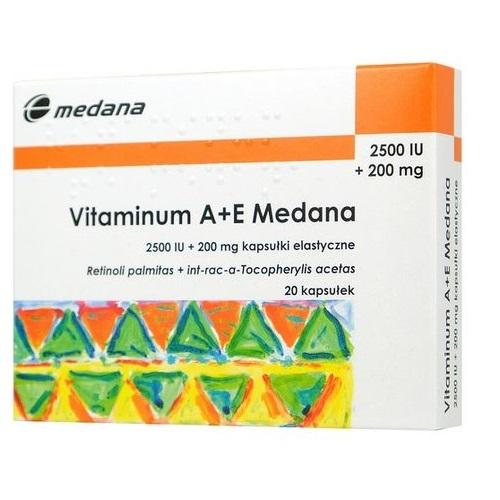 Witamina A+E(2500+200) 20 kaps.Medana | Apteka internetowa, antyperspirant, avent, bioderma, bioliq, canpol, cera trądzikowa preparaty, dermokosmetyki, geriavit, grzybica leki bez recepty, himalaya, kreon, leki bez recepty, leki na grypę, leki na przeziębienie, leki na uspokojenie, mascara med., maxigra go, maxon, mensil, mugga, mustela, odchudzanie leki, odporność, pirolam, tabletki na ból gardła, test ciążowy, tran mollers, vichy, witamina d, wszy preparaty, zapalenie stawów, zestawy kosmetyków, ziaja