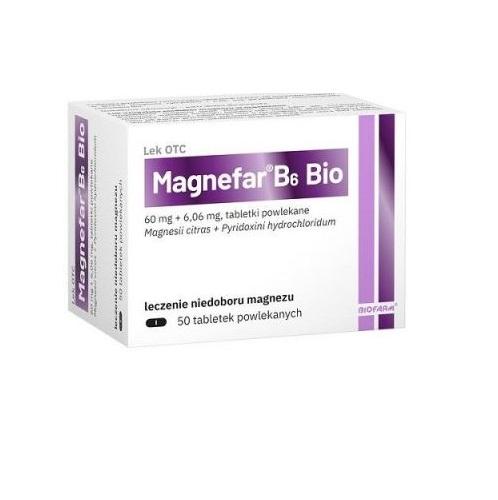 Magnefar B6 Bio tabl.powl. 50 tabl. | Apteka internetowa, antyperspirant, avent, bioderma, bioliq, canpol, cera trądzikowa preparaty, dermokosmetyki, geriavit, grzybica leki bez recepty, himalaya, kreon, leki bez recepty, leki na grypę, leki na przeziębienie, leki na uspokojenie, mascara med., maxigra go, maxon, mensil, mugga, mustela, odchudzanie leki, odporność, pirolam, tabletki na ból gardła, test ciążowy, tran mollers, vichy, witamina d, wszy preparaty, zapalenie stawów, zestawy kosmetyków, ziaja