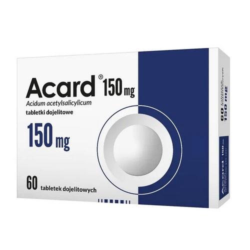 Acard 150 mg tabl.dojelit. 0,15 g 60 tabl. | Apteka internetowa, antyperspirant, avent, bioderma, bioliq, canpol, cera trądzikowa preparaty, dermokosmetyki, geriavit, grzybica leki bez recepty, himalaya, kreon, leki bez recepty, leki na grypę, leki na przeziębienie, leki na uspokojenie, mascara med., maxigra go, maxon, mensil, mugga, mustela, odchudzanie leki, odporność, pirolam, tabletki na ból gardła, test ciążowy, tran mollers, vichy, witamina d, wszy preparaty, zapalenie stawów, zestawy kosmetyków, ziaja