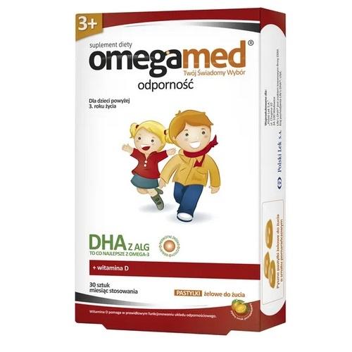 Omegamed Odporność 3+ past.d/żucia 30 past | Apteka internetowa, antyperspirant, avent, bioderma, bioliq, canpol, cera trądzikowa preparaty, dermokosmetyki, geriavit, grzybica leki bez recepty, himalaya, kreon, leki bez recepty, leki na grypę, leki na przeziębienie, leki na uspokojenie, mascara med., maxigra go, maxon, mensil, mugga, mustela, odchudzanie leki, odporność, pirolam, tabletki na ból gardła, test ciążowy, tran mollers, vichy, witamina d, wszy preparaty, zapalenie stawów, zestawy kosmetyków, ziaja