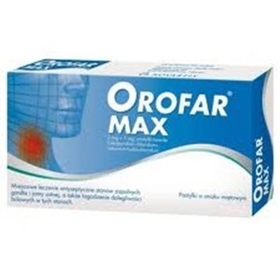 Orofar MAX pastyl.twarda 2mg+1mg 20pastyl.